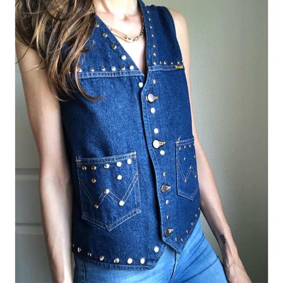 Vintage Jackets & Blazers - Vintage studded denim wrangler vest